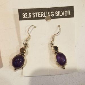 Sterling Silver & Amethyst Earrings